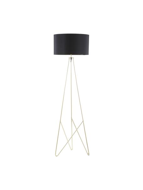 Lámpara de pie Jessica, Pantalla: tela, Cable: plástico, Negro,cobre, Ø 45 x Al 155 cm