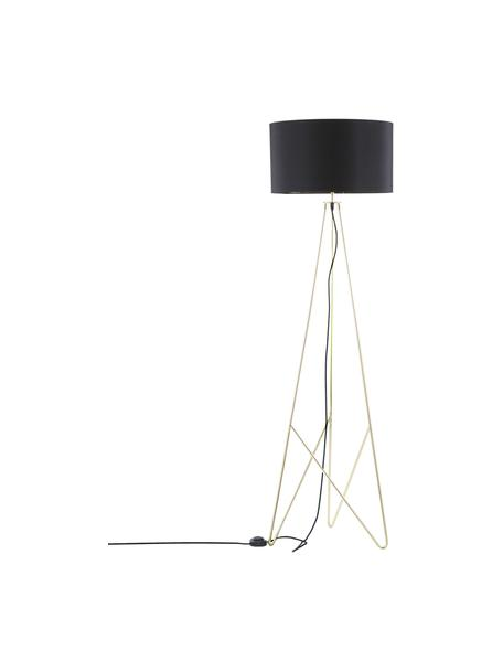 Lampada da terra Jessica, Paralume: tessuto, Struttura: metallo ramato, Nero, rame, Ø 45 x Alt. 155 cm