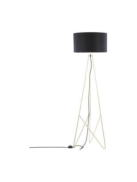 Vloerlamp Jessica in zwart-goudkleur, Lampenkap: textiel, Lampvoet: verkoperd metaal, Zwart, koperkleurig, Ø 45 x H 155 cm