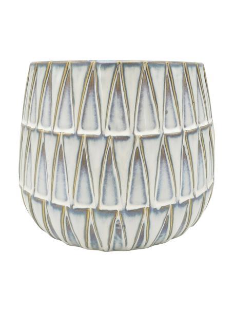 Übertopf Nomad aus Keramik, Keramik, Weiß, Beige, Ø 19 x H 15 cm
