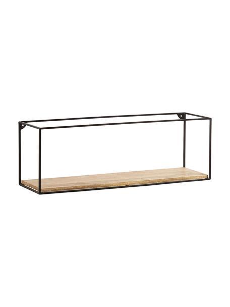 Wandplank Elisha van hout en metaal, Frame: gelakt metaal, Plank: massief mangohout, Zwart, bruin, 90 x 30 cm