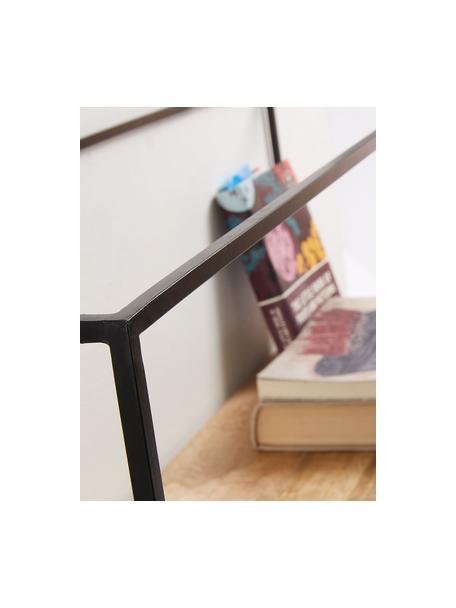 Mensola in legno e metallo Elisha, Struttura: metallo verniciato, Ripiani: legno di mango massiccio, Nero, marrone, Larg. 90 x Alt. 30 cm