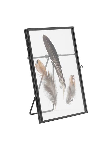 Fotolijstje Pioro met veren, Lijst: gecoat metaal, Zwart, transparant, 13 x 18 cm