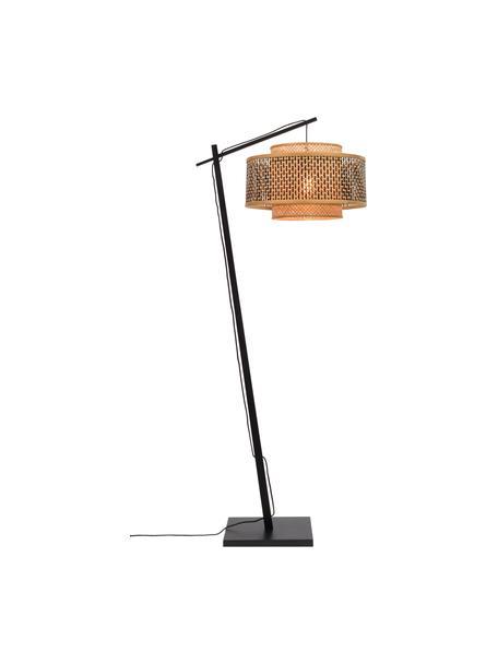 Lampa podłogowa w kształcie łuku z drewna bambusowego Bhutan, Jasny brązowy, czarny, Ø 50 x W 176 cm