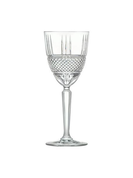 Kristallen wijnglazen Brillante met reliëf, 6 stuks, Kristalglas, Transparant, Ø 9 x H 21 cm