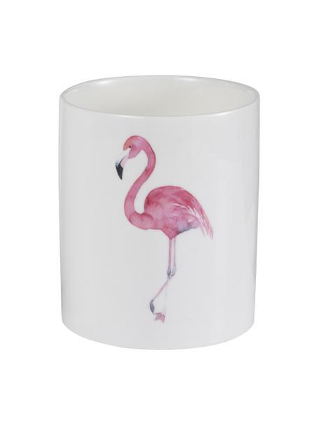 Duftkerze Flamingo, Behälter: Keramik, Weiß, Pink, Ø 11 x H 13 cm