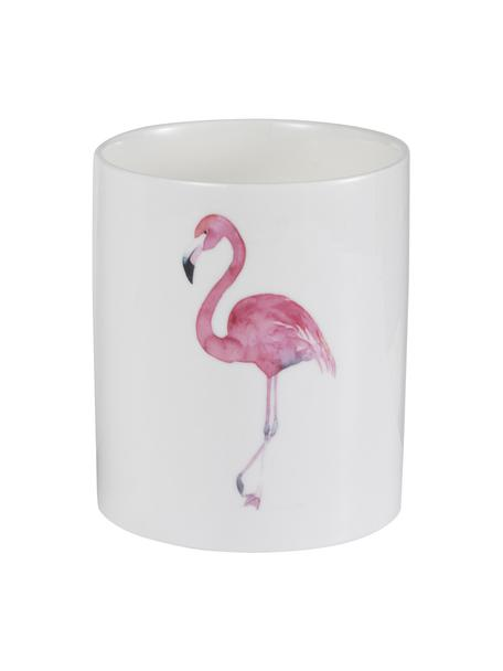Geurkaars Flamingo, Houder: keramiek, Wit, roze, Ø 11 x H 13 cm