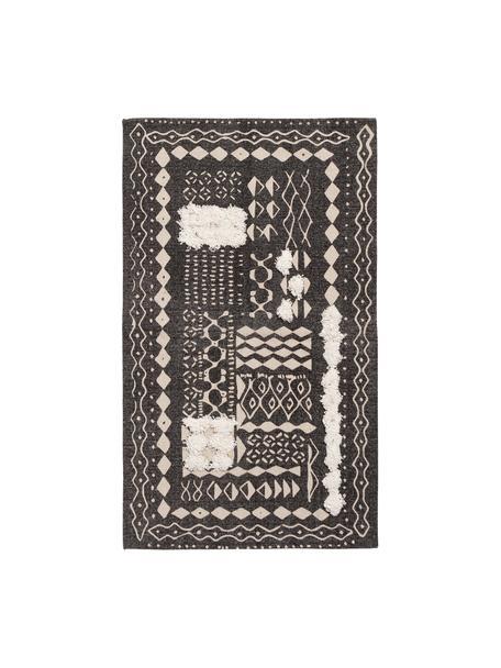 Boho Baumwollteppich Boa mit Hoch-Tief-Muster in Schwarz/Weiß, 100% Baumwolle, Schwarz, Weiß, B 60 x L 90 cm (Größe XXS)