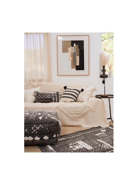 Boho katoenen vloerkleed Boa met hoog-laag patroon in zwart/wit, 100% katoen, Zwart, wit, B 60 x L 90 cm (maat XXS)