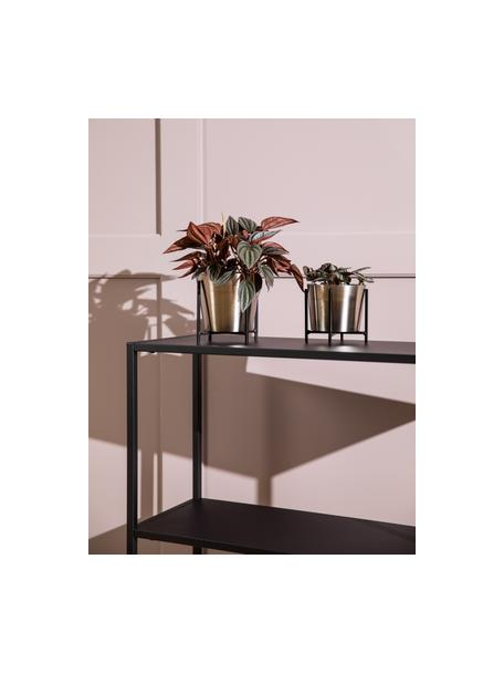 Übertöpfe-Set Kuma, 2-tlg., Metall, Silberfarben, Schwarz, Sondergrößen