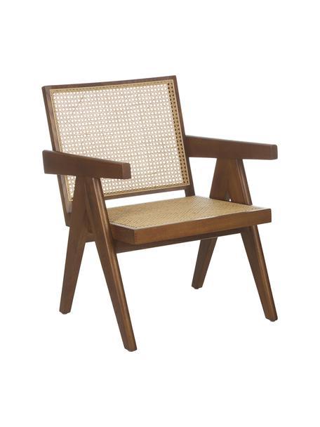 Sillón Sissi, Estructura: madera de roble maciza, Asiento: ratán, Roble, An 58 x F 66 cm
