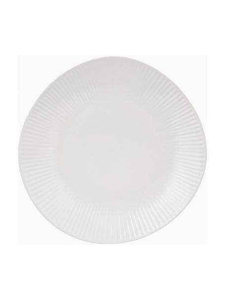Handgemachte Dessertteller Sandvig mit leichtem Rillenrelief, 4 Stück, Porzellan, durchgefärbt, Gebrochenes Weiss, Ø 22 cm