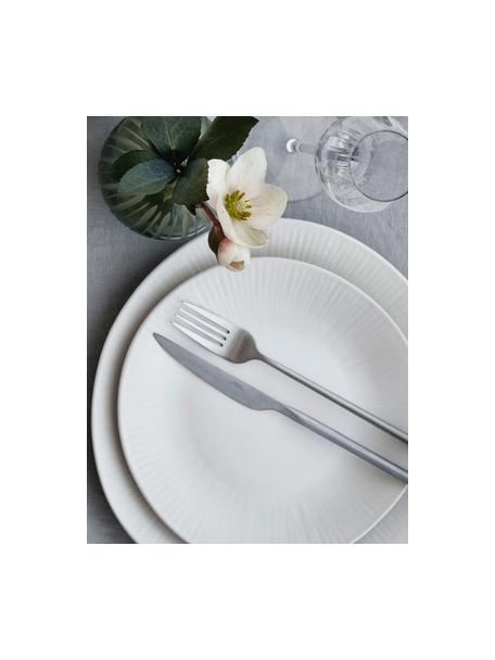 Handgemachte Dessertteller Sandvig mit leichtem Rillenrelief, 4 Stück, Porzellan, durchgefärbt, Gebrochenes Weiß, Ø 22 cm