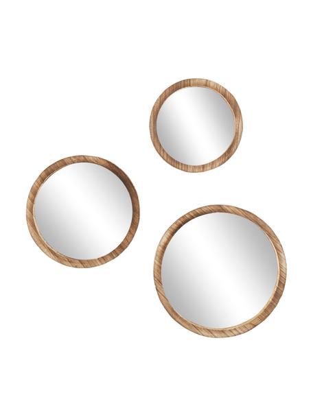 Komplet okrągłych luster ściennych z drewna paulownia Jones, 3 elem., Brązowy, Komplet z różnymi rozmiarami