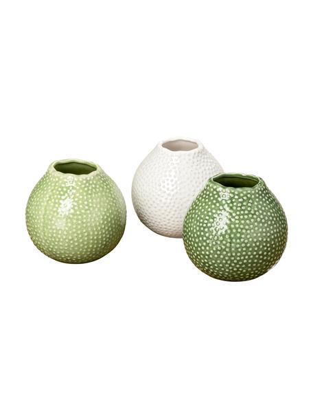 Set 3 vasi decorativi in gres Tessa, Gres, Verde, bianco, Ø 13 x Alt. 13 cm