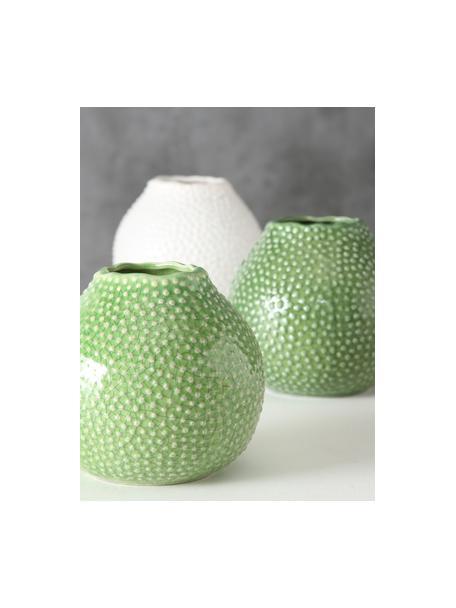 Komplet wazonów z kamionki Tessa, 3 elem., Kamionka, Zielony, biały, Ø 13 x W 13 cm