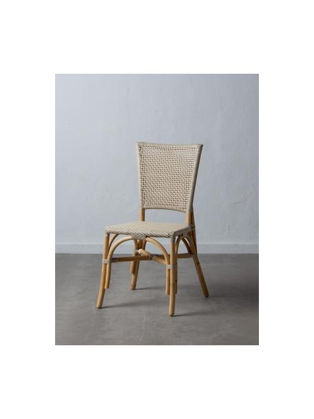 Sedia in rattan Ainara, Rattan con intreccio in polietilene, Beige, Larg. 54 x Prof. 44 cm