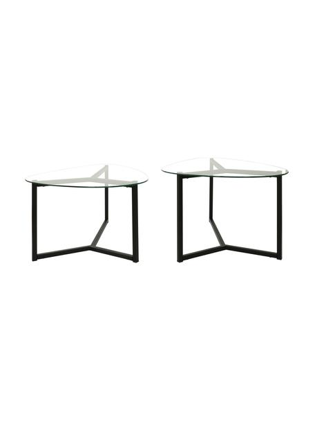 Set 2 tavolini da salotto con piani in vetro Tritri, Nero, trasparente, Set in varie misure