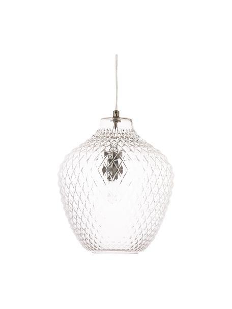 Lampada a sospensione in vetro Lee, Paralume: vetro, Baldacchino: metallo cromato, Trasparente, cromo, Ø 27 x Alt. 33 cm