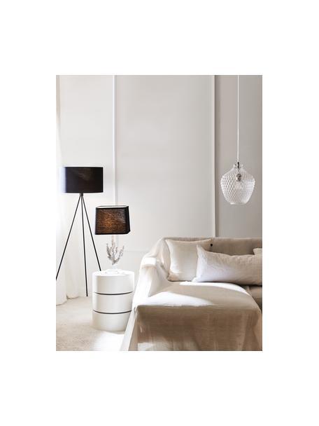 Kleine hanglamp Lee van glas, Lampenkap: glas, Baldakijn: verchroomd metaal, Fitting: verchroomd metaal, Transparant, chroomkleurig, Ø 27  x H 33 cm