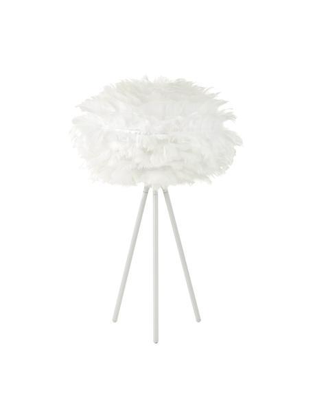 Lampada da tavolo treppiede in piume Eos Mini, Paralume: piuma d'oca, acciaio, Base della lampada: alluminio verniciato a po, Bianco, Ø 35 x Alt. 56 cm