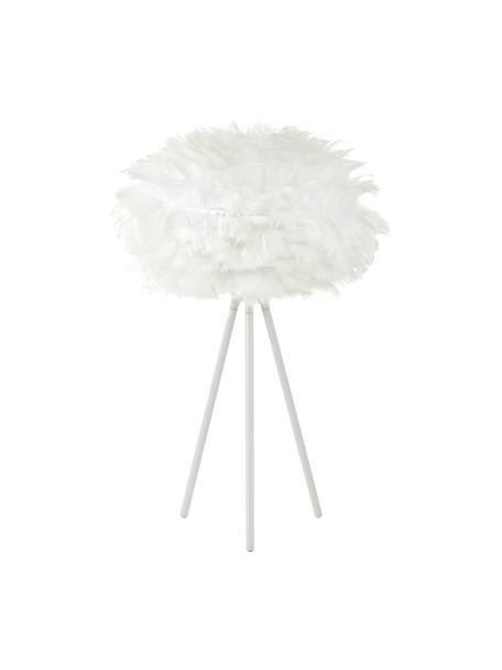 Lampada da tavolo treppiede in piume Eos, Paralume: piuma d'oca, Base della lampada: alluminio verniciato a po, Bianco, Ø 35 x Alt. 56 cm