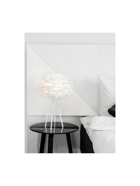 Grote tripod tafellamp Eos van veren, Lampenkap: ganzenveren, Lampvoet: gepoedercoat aluminium, Wit, Ø 35 x H 56 cm
