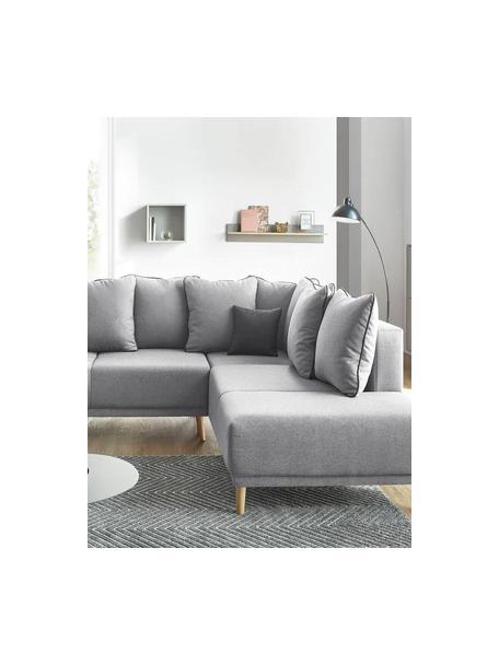 Divano letto angolare in tessuto grigio con contenitore Mola, Rivestimento: poliestere, Grigio, Larg. 252 x Prof. 215 cm