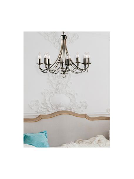 Lámpara de araña Maypole, Estructura: acero latón, Anclaje: acero, latón, Cable: plástico, Latón, Ø 60 x Al 50 cm