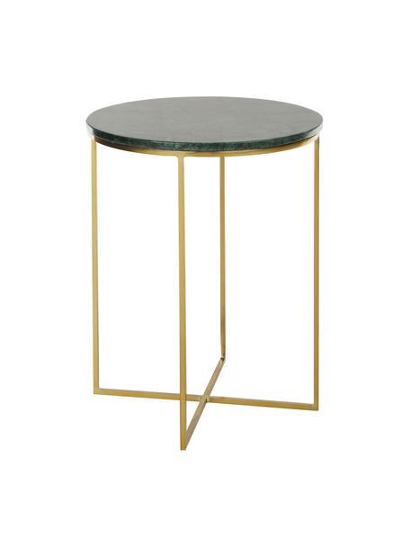 Tavolino rotondo con piano in marmo Alys, Struttura: metallo verniciato a polv, Piano: marmo verde Struttura: dorato lucido, Ø 40 x Alt. 50 cm