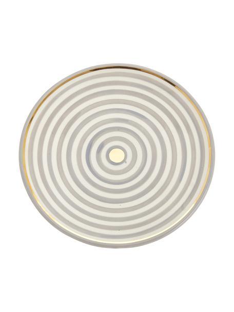 Piatto piano fatto a mano stile marocchino con bordo oro Assiette, Ceramica, Grigio chiaro, crema, oro, Ø 26 x Alt. 2 cm