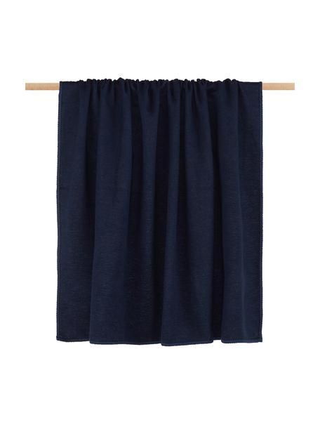 Baumwolldecke Sylt Marineblau mit Ziernaht, Webart: Jacquard, Marineblau, 140 x 200 cm