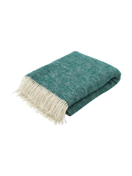 Dubbelzijdige wollen plaid Tirol in groen/wit met franjes, 100% wol, Groen, wit, 140 x 200 cm