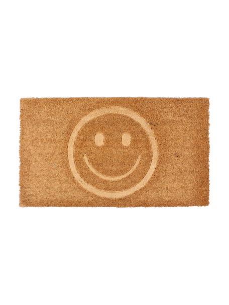 Deurmat Smile, Bovenzijde: kokosvezels, Onderzijde: PVC, Bruin, 40 x 70 cm