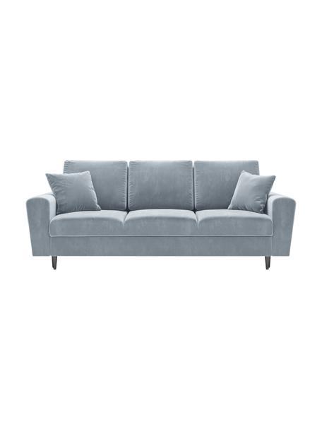 Sofa z funkcją spania z miejscem do przechowywania Moghan (3-osobowa), Tapicerka: aksamit poliestrowy Dzięk, Stelaż: lite drewno sosnowe, skle, Nogi: metal lakierowany, Jasny niebieski, czarny, S 235 x G 100 cm