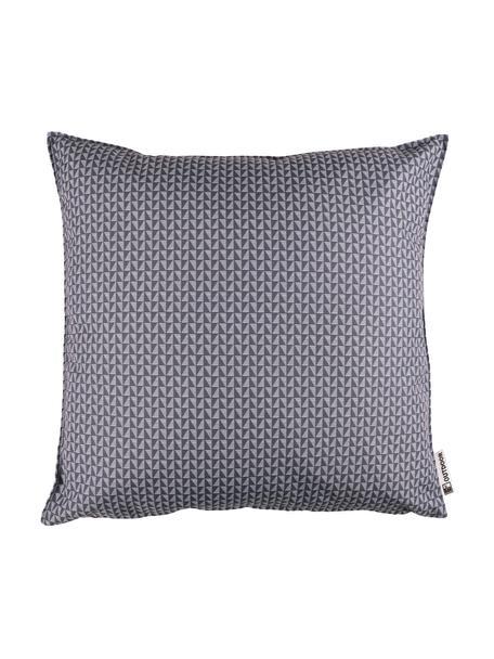 Outdoor kussen met patroon Rhombus, 100% polyester, Donkergrijs, lichtgrijs, 47 x 47 cm