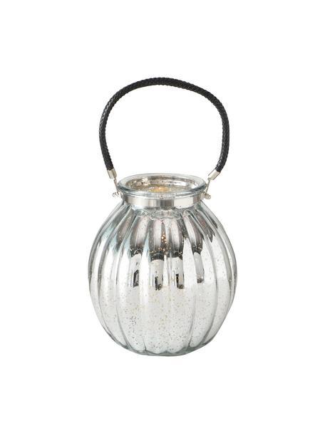 Windlicht Tubby, Windlicht: Glas, lackiert, Griff: Kunstleder, Silberfarben, Schwarz, Ø 22 x H 25 cm