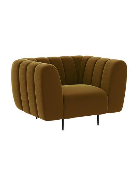 Fotel z aksamitu Shel, Tapicerka: 100% aksamit poliestrowy , Stelaż: twarde drewno, miękkie dr, Nogi: metal powlekany, Miodowy, S 110 x G 95 cm