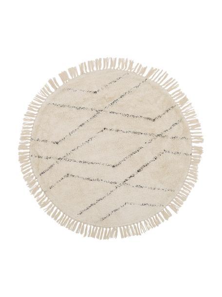 Ronde katoenen vloerkleed Bina met ruitjesmotief, handgetuft, Beige, zwart, Ø 110 cm
