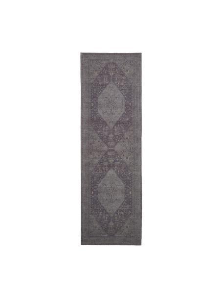 Alfombra artesanal de chenilla Neapel, estilo vintage, Parte superior: 95%algodón, 5%poliéster, Reverso: 100%algodón, Gris, An 80 x L 250 cm