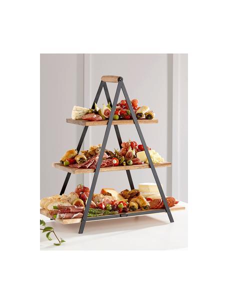 Alzatina con piani in legno di mango Serve, Ripiani: legno d'acacia, Struttura: metallo verniciato, Marrone, Larg. 50 x Alt. 54 cm