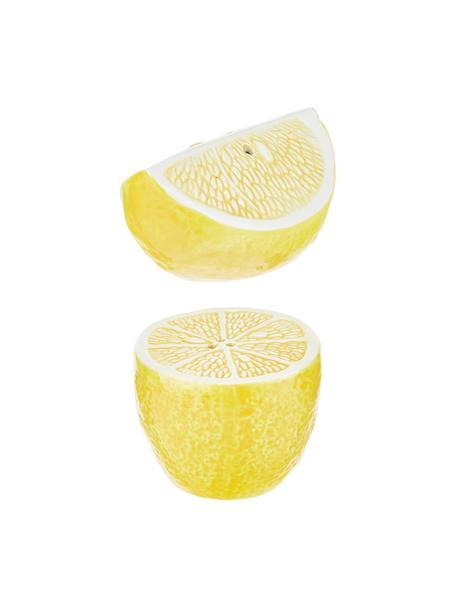 Set saliera a pepiera Lemon 2 pz, Porcellana (dolomite), Bianco, giallo, Larg. 7 x Alt. 7 cm