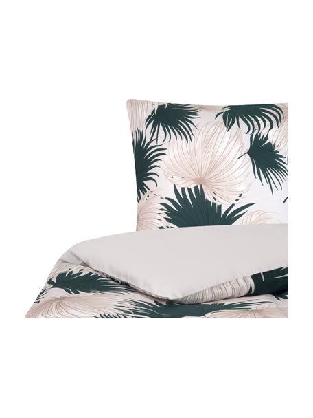 Pościel z satyny bawełnianej Aloha, Przód: beżowy, zielony Tył: beżowy, 135 x 200 cm + 1 poduszka 80 x 80 cm