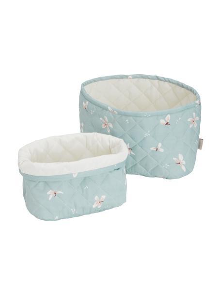 Set de cestas de algodón ecológico Wildflower, 2pzas., Funda: 100%algodón ecológico, c, Azul claro, crema, rosa, Set de diferentes tamaños