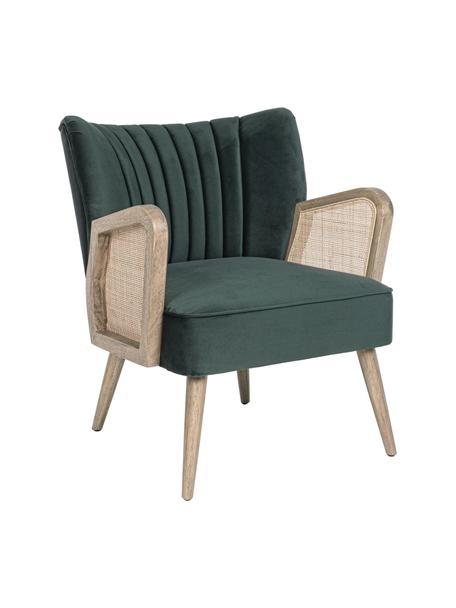 Fotel Virna, Tapicerka: aksamit poliestrowy, Nogi: drewno kauczukowe, Zielony, beżowy, S 64 x G 71 cm