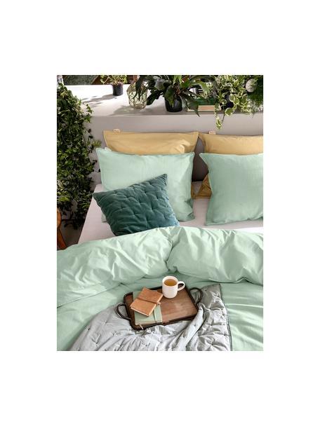 Dwustronna pościel z lnu i perkalu Natural, Jadeitowy, 155 x 220 cm + 1 poduszka 80 x 80 cm