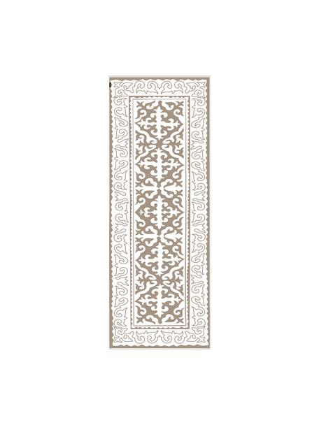 Tappetino antiscivolo taupe/bianco in vinile Aksana, Vinile riciclabile, Taupe, bianco, Larg. 68 x Lung. 180 cm