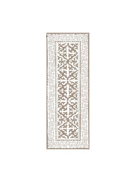 Vlakke vinyl vloermat Aksana in taupe / wit, antislip, Recyclebaar vinyl, Taupe, wit, 68 x 180 cm