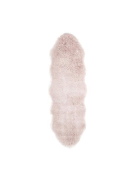 Imitatie schapenvacht Mathilde, glad, Bovenzijde: 65% acryl, 35% polyester, Onderzijde: 100% polyester, Roze, 60 x 180 cm