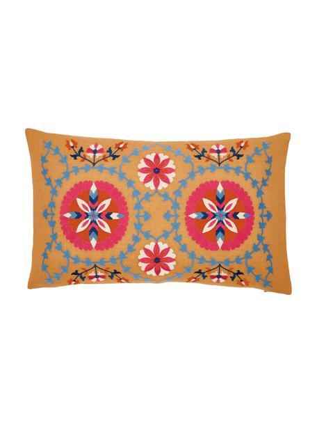 Federa arredo ricamata Tabula, 100% cotone, Giallo, multicolore, Larg. 30 x Lung. 50 cm